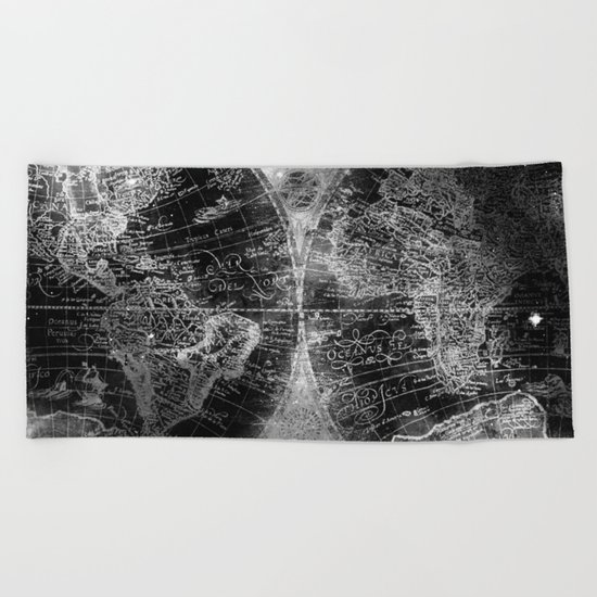 Antique Map Space Stars Black and White Beach Towel