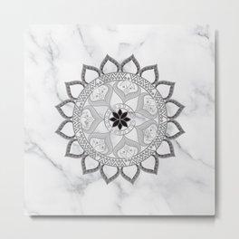 Bohemian New Age Yoga Zen Lotus Flower White Marble Grey Mandala Metal Print