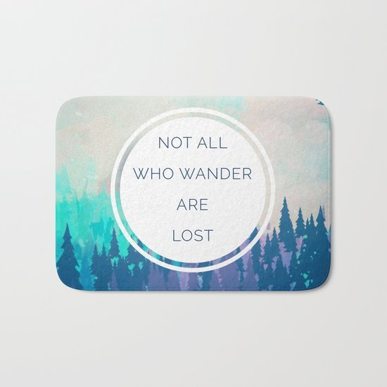 All Who Wander Travel Quote Bath Mat
