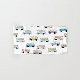 Happy Camper Van Bus blue traveling hippie summer pattern design print Hand & Bath Towel