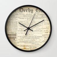 newspaper Wall Clocks featuring Newspaper by Caroline K