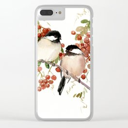 Chickadee Bird Vintage Bird Artwork, two birds, chickadees woodland design Clear iPhone Case