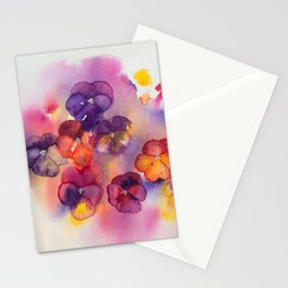Spring watercolor flowers art colorful pansies Stationery Cards