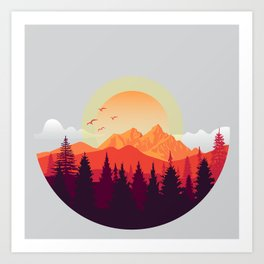The Adventurer - mountain landscape illustration Art Print