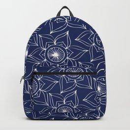 Navy blue white hand drawn floral mandala Backpack
