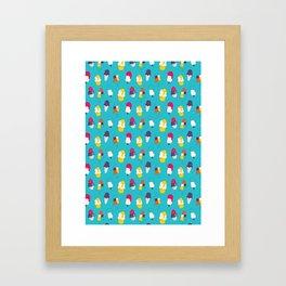 Ice cream pattern - blue Framed Art Print