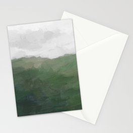 Green Grass Hills Nature Pasture Gray Sky Clouds Abstract Nature Farmhouse Painting Art Print Wall Decor  Stationery Cards