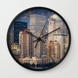 Downtown NYC at twilight Wall Clock