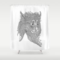 beast Shower Curtains featuring Beast by Olya Goloveshkina