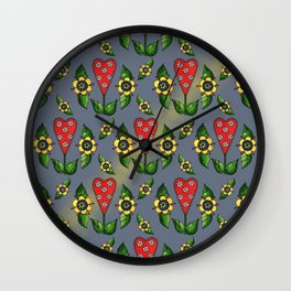 Hearts with Flowers Wall Clock