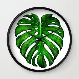 Monstera Leaf Paintings Wall Clock