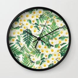 Textured Vintage Daisy and Fern Pattern  Wall Clock