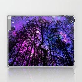 Black Trees Purple Fuchsia Blue space Laptop & iPad Skin