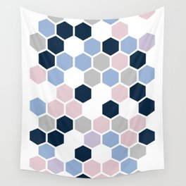 Texture hexagons - Blu&Violet Wall Tapestry