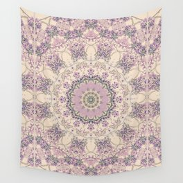 47 Wisteria Circle - Vintage Cream and Lavender Purple Mandala Wall Tapestry