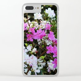 White And Pink Azaleas Clear iPhone Case