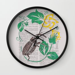 I Shall Fear No Weevil   (Boll Weevil and Cotton Blossoms) Wall Clock