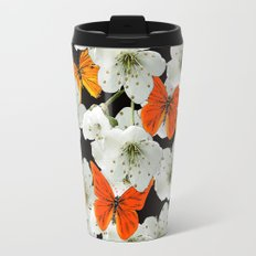 Cherry flowers and colorful butterflies on a black background Metal Travel Mug