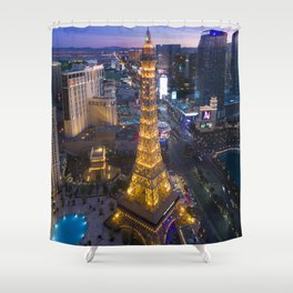 Aerial view of the Eiffel tower in Las Vegas Shower Curtain