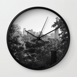 Minneapolis Minnesota Black and White Photography Wall Clock
