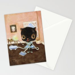 Black Cat Vacuuming Stationery Cards