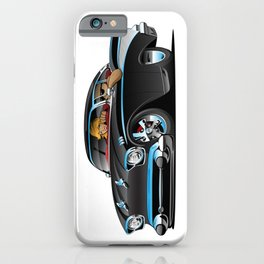 Classic hot rod fifties muscle car with cool couple cartoon iPhone Case