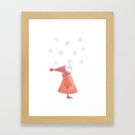 Gnome First Snow Framed Art Print