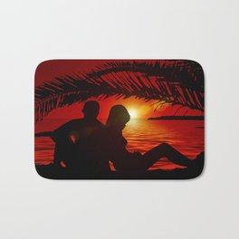 Silhouette Pair Sunset Tree Longing Love Bath Mat