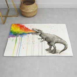 T-Rex Dinosaur Vomits Rainbow Rug