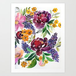 peonies and lilac flower Art Print
