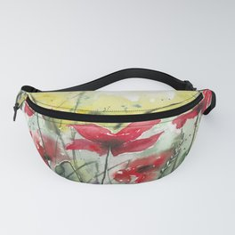 Poppies in Watercolour Fanny Pack