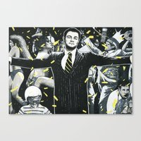wolf of wall street Canvas Prints featuring Wolf of Wall Street by ArtCandy Studio