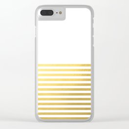 Gold Half Stripes Clear iPhone Case