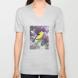 American goldfinch male bokeh Unisex V-Neck