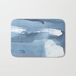 Gray Blue streaked wash drawing painting Bath Mat