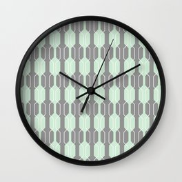 Grey and Mint Geometric Lines. Manchester Architecture Collection Wall Clock