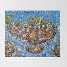 Bali Map Art Painting  Throw Blanket