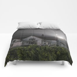 Eastern point lighthouse on a foggy night Comforters