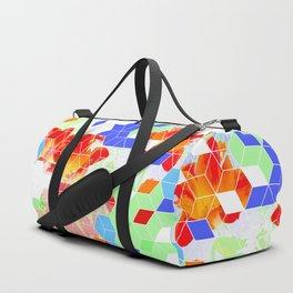 Pop Floral Cube Pattern 2  #fashion #pattern #lifestyle Duffle Bag
