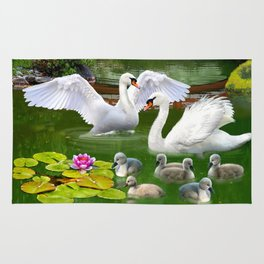 Swans and Baby Cygnets in an Oriental Landscape Rug