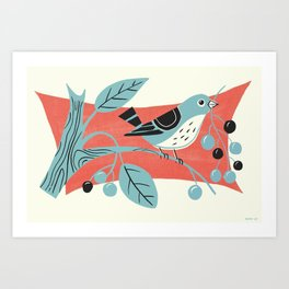 Blue Berry Bird Art Print