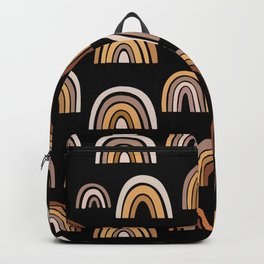 Baby Rainbows With Black Background, Terra Cotta Watercolor Boho Rainbows Backpack