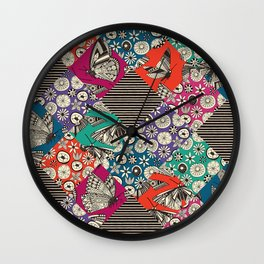 retro summer patches Wall Clock
