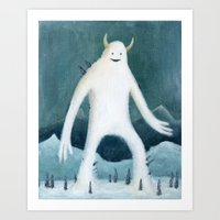 yeti Art Prints featuring Yeti by Monster Tea Party