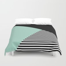 Mint Color Block with Stripes // www.penncilmeinstationery.com Duvet Cover