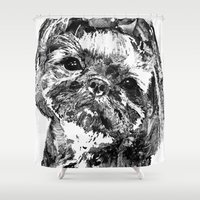 shih tzu Shower Curtains featuring Shih Tzu Dog Art In Black And White by Sharon Cummings by Sharon Cummings