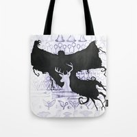 harry potter Tote Bags featuring Harry Potter by Carmen McCormick
