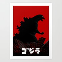 godzilla Art Prints featuring Godzilla by 100rings