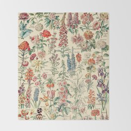 Vintage Floral Drawings // Fleurs by Adolphe Millot XL 19th Century Science Textbook Artwork Throw Blanket