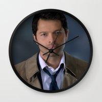 castiel Wall Clocks featuring Castiel by Rousetta
